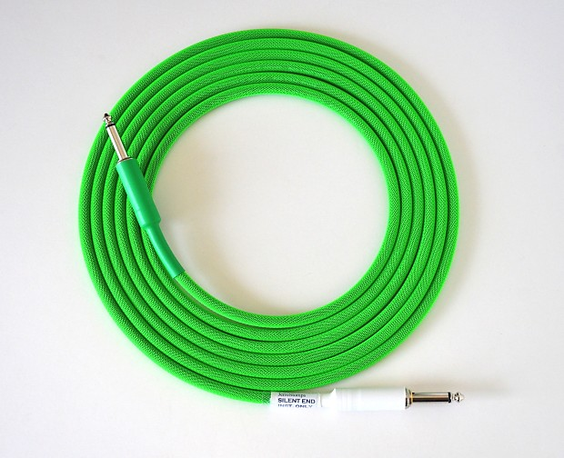 10 ft. Mogami 2524 Cable, Silent tip, Neon Green, Hand Made | Reverb