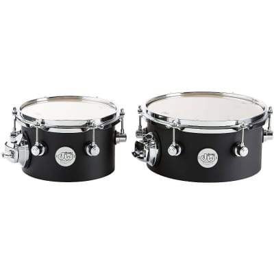 DW Design Series Concert Toms with Mount 8/10 Inch Black Satin