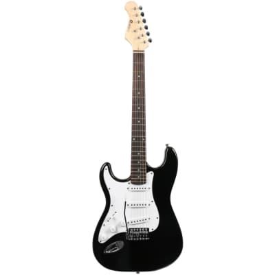 Dimavery ST-203 LH BK E-Gitarre, linkshandig, schwarz for sale