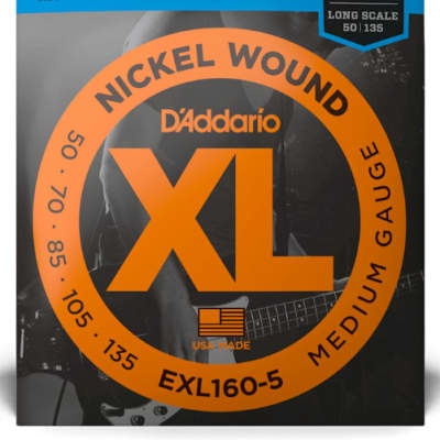 D'Addario EXL160-5 5-String Nickel Wound Bass Guitar Strings, Medium, 50-135 Long Scale
