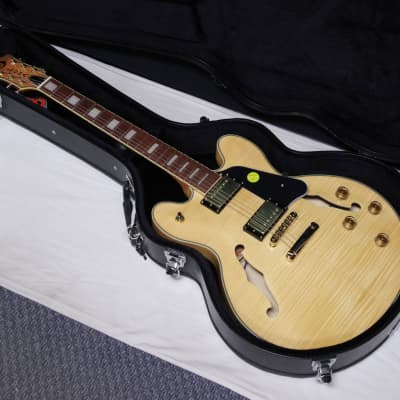 LUNA Athena Semi-Hollow electric GUITAR new Gloss Natural w/ Hard Case for sale