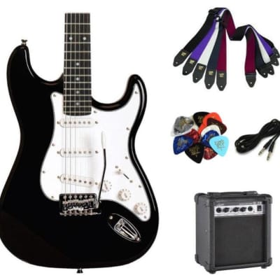 Austin AST100BLK Classic Double Cutaway Electric Guitar - Black- Package with Amplifier, Cable, Stra for sale