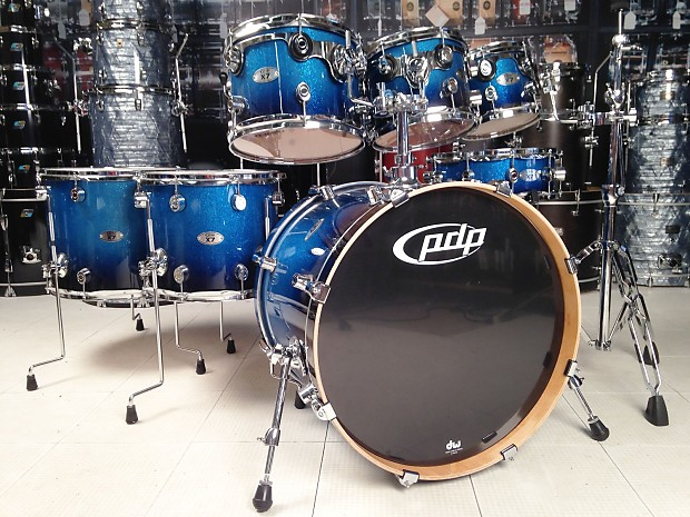 Used Pdp X7 7pc Drum Set Blue Sparkle Fade Lacquer Reverb