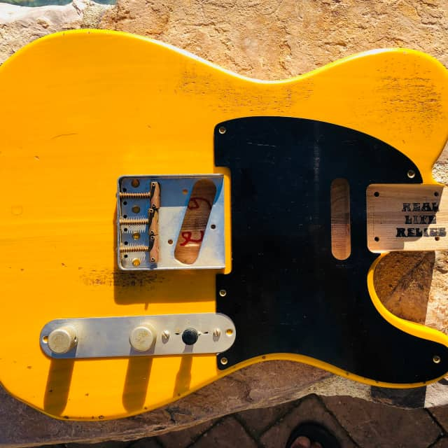 Real Life Relics Tele Telecaster body Butterscotch Blonde Swamp Ash image