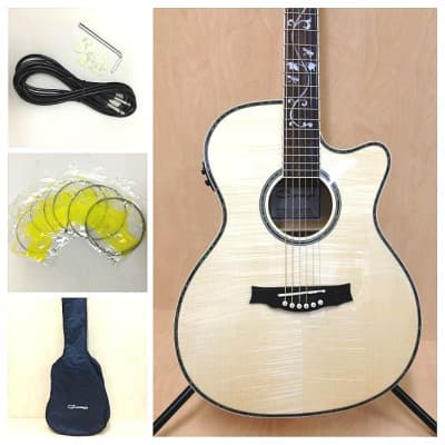 Caraya SDG-837 CEQ/N All Flame Maple Acoustic Guitar,EQ/Tuner+Free gig bag for sale