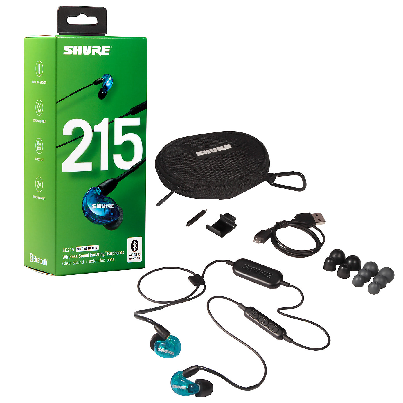 e355cee1c63 Shure SE215-BT1 Blue Special Edition Wireless Sound Isolating Earphones  with Bluetooth Cable