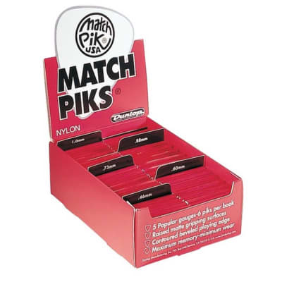 Dunlop 448R100 Match Pik 1mm Guitar Pick Matchbook (12 Books of 6)