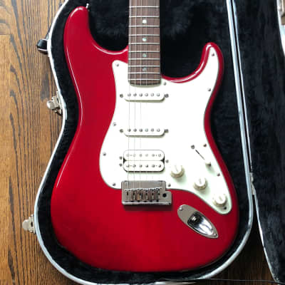 Fender American Deluxe Fat Stratocaster HSS 2000 Crimson Red Transparent for sale