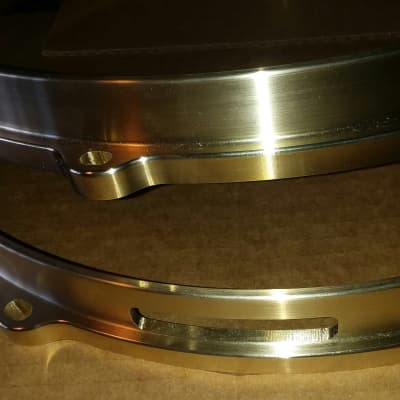 """Brand New 14"""" 8-lug Top and Bottom Cast Bell Bronze Snare Hoops (pair) Best Price!"""