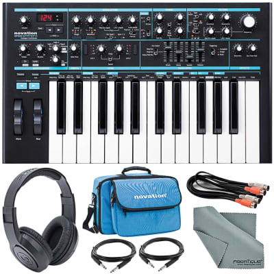 Novation Bass Station II Monophonic Analog Synthesizer Bundle with Cables + Gig Bag + Headphones + Fibertique Cleaning Cloth