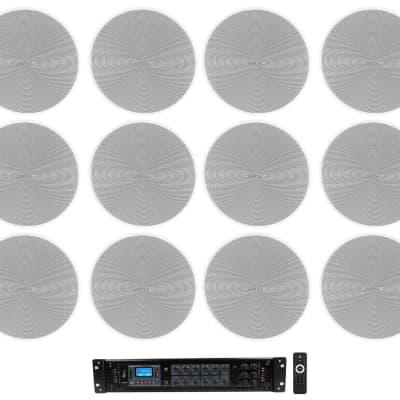 Rockville Commercial Amp+12) Bose DM3C White 70V Ceiling Speakers For Restaurant