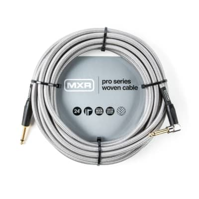 Dunlop DUNLOP DCIW24R Pro Series Woven Instrument Cable 24 Foot Cable Straight/Right Angle
