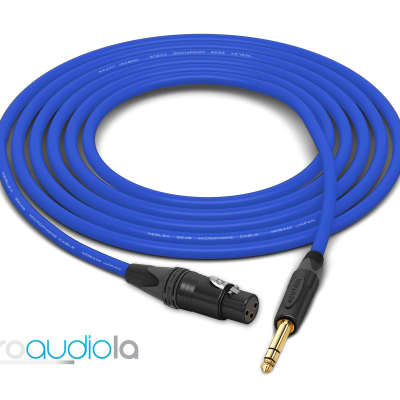"Mogami 2549 Cable | XLR-Female to Neutrik Gold 1/4"" TRS | Blue 85 Feet | 85 Ft. | 85'"