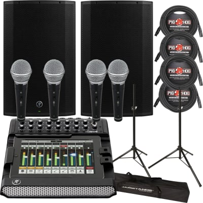 Mackie TH-15A Thump 15 1300W Speakers Pair + Mackie DL1608 Mixer + Stands + Cables & Mics