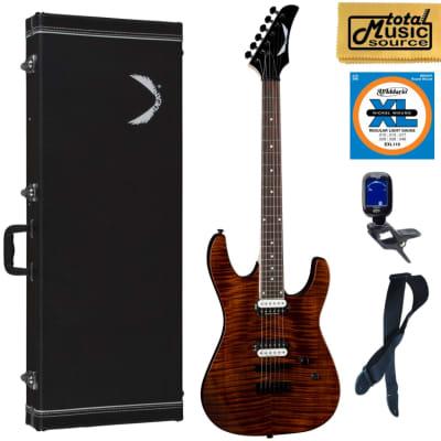 Dean Modern 24 Select Electric Guitar Flame Top Tiger Eye, Hard Case Bundle