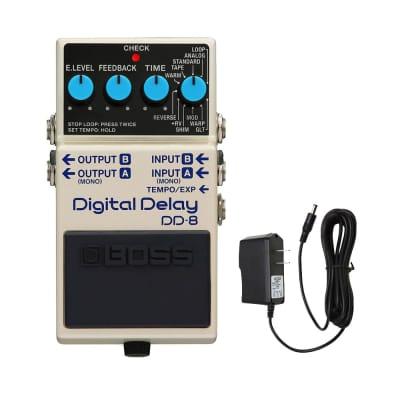 Boss DD-8 Digital Delay with PigHog PigPower 9V 1000ma Power Supply