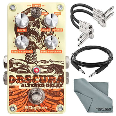 DigiTech Obscura Altered Delay Pedal and Accessory Bundle with 2X Cables + Fibertiqu Cloth