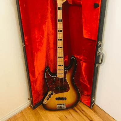 1972 Fender Jazz Bass Lefty Sunburst Maple Neck Black Block RARE ! Original!