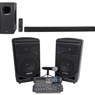 "Samson Expedition XP800W 8"" Portable PA DJ Speaker System + Rockbar Soundbar"