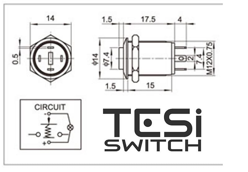 Tesi POCO 12MM LED Momentary Push on Guitar Kill Switch on Anodized A Switch Led Wiring Diagram on