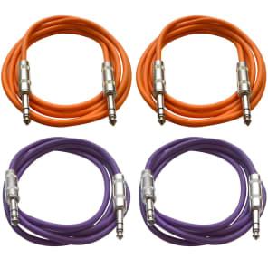 """Seismic Audio SATRX-6-2ORANGE2PURPLE 1/4"""" TRS Patch Cables - 6' (4-Pack)"""