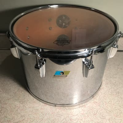 """Ludwig Vintage Concert Tom Chrome over Wood 14""""x10"""" Late 70s-80s 6ply Maple Blue Olive rounded"""