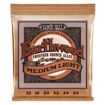 Ernie Ball Earthwood Medium Light Phosphor Bronze Acoustic Guitar Strings - 12-54 Gauge 2146