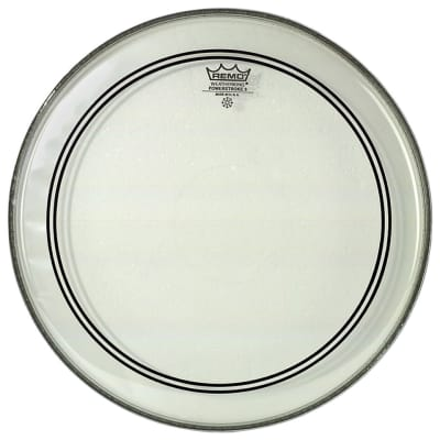 """Remo 24"""" Clear Powerstroke 3 Bass Drum Head - White"""