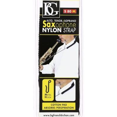 BG Model S80M Nylon Strap with Metal Hook for Soprano/Alto/Tenor Saxophone