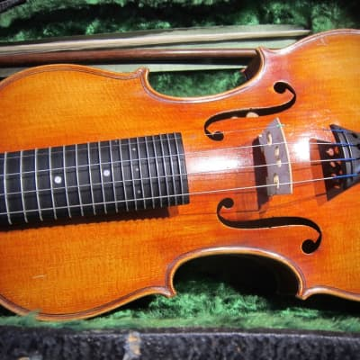 Vintage Fretted Violin by Franz Halbmeyer 1930s Munchen Germany Rare with Engraved Silver Peg head