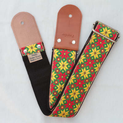 Pardo Guitar Strap Yellow Star Hippie 2'5 Inches Wide For Guitar & Bass Ethnic Retro