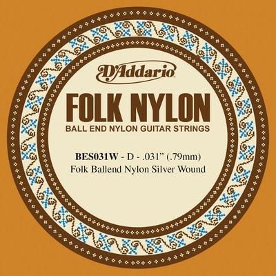 D'Addario BES031W .031 Folk Nylon Guitar Single String Clear Nylon - Ball End