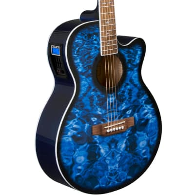 Lindo Shark Electro-Acoustic Guitar with Preamp / Tuner - Ocean Blue (+ Padded Gigbag) for sale