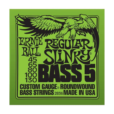 ERNIE BALL Regular Slinky Nickel Wound 5-String Bass Strings (2836) Single Pack