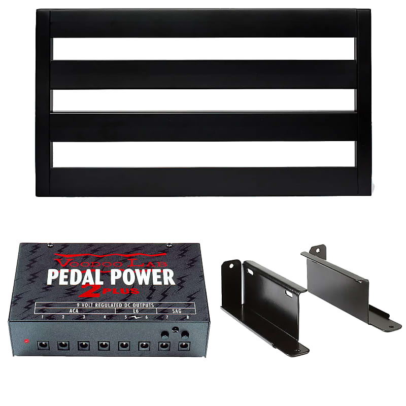 Pedaltrain Classic 1 Pedalboard Bundle w/Soft Case, Voodoo Lab Pedal Power  2 PLUS Power Supply and Pedaltrain Voodoo Lab Mounting Kit