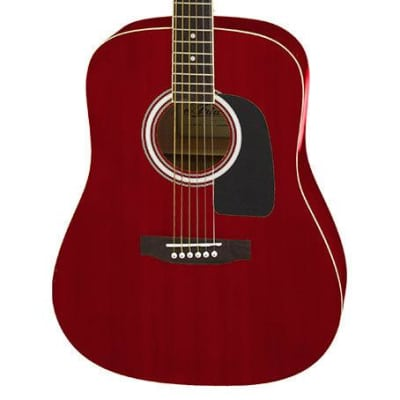Aria AW-15 Dreadnought Acoustic Guitar in Metallic Candy Apple Red for sale
