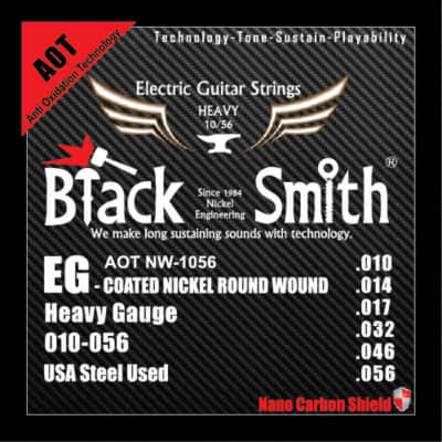 BLACKSMITH Electric 6 String Set, Nano-Carbon Coated Steel - Heavy 010 - 056