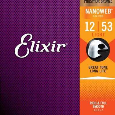 Elixir Phosphor Bronze Acoustic Guitar Strings with Nanoweb Coating 12-56