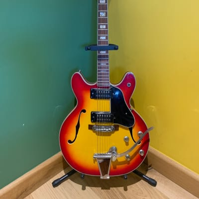 Commodore N25 semi acoustic - mid 1970s - sunburst red/yellow - f holes and whammy bar - 335 style for sale