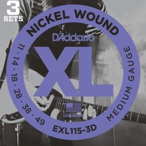 D'Addario EXL115-3D Nickel Wound Electric Guitar Strings, Medium/Blues-Jazz Rock Gauge 3-Pack