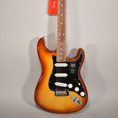 2020 Fender Player Stratocaster Plus Top Tobacco Sunburst Flame Finish Electric Guitar