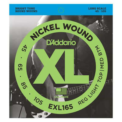D'Addario EXL165 Nickel Wound Bass Guitar Strings Custom Light 45-105 Long Scale