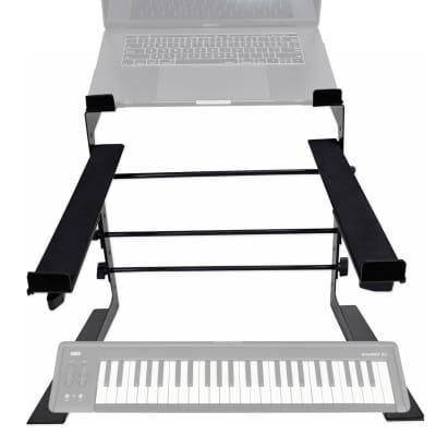 Rockville Dual Shelf Laptop+Controller Stand for Korg microKEY-49 Keyboard