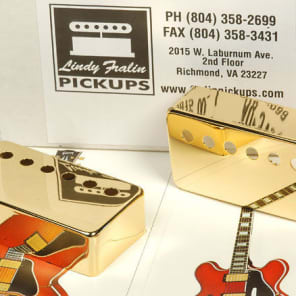 2 New Lindy Fralin Gold Humbucker Pickup Covers For Gibson Spacing Les Paul SG Made In USA New