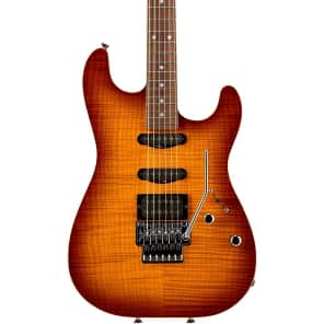 Schecter USA Contoured Exotic HSS Double Cutaway with Floyd Rose Tremolo Golden Honeyburst