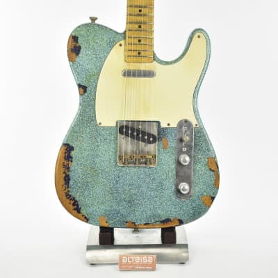 Maybach Custom Shop Teleman Masterbuild by Nick Page Heavy Relic 2021 Turquoise Sparkle 4/4 3289gr for sale