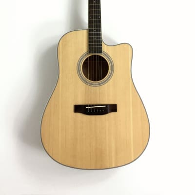 Haze Dreadnought Spruce Solid top Acoustic Guitar Natural CD60MCN for sale