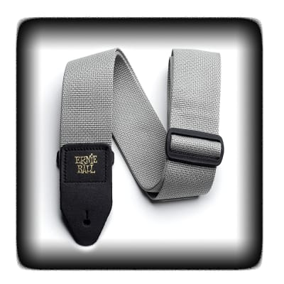 """Ernie Ball 4046 2"""" Gray Poly Guitar Strap with Leather Ends"""