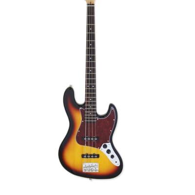 Aria STB-JB/TT-3TS STB Series Jazz Bass, 3-Tone Sunburst, New, Free Shipping