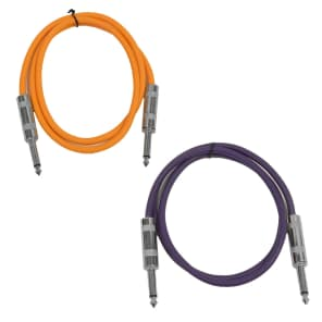 "Seismic Audio SASTSX-3-ORANGEPURPLE 1/4"" TS Male to 1/4"" TS Male Patch Cables - 3' (2-Pack)"